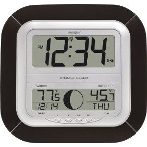 La Crosse Atomic Digital Wall Clock w/ Temperature Moon Phase LCD
