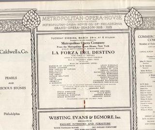 Caruso Ponselle La Forza Del Destino Met Opera Program 1919 RARE