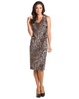 Lafayette 148 Black Zebra Print Draped Neck Dress