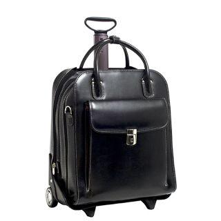 McKlein La Grange 15 4 Vertical Wheeled Leather Laptop Briefcase w