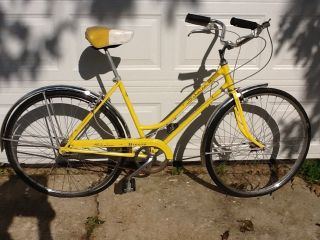 Breeze Ladies 3 Speed Road Cruise Bike Yellow Vintage Bicycle