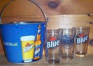 Labatt Blue 3 Beer Pint Glasses Ice Bucket New