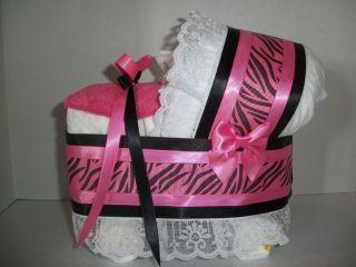 Zebra Girl Diaper Bassinet Carriage Baby Shower Centerpiece
