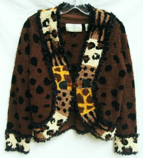 DESIGN OPTIONS Phillip Jane Gordon Womens Leopard Zebra Hairy Cardigan