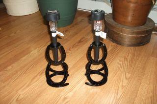 Pair of New Horseshoe Solar Light Holders