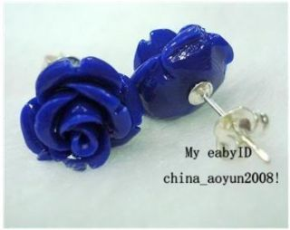 girl Ladies jewelry earrings Blue Sea Coral Carved Rose 12X12MM Stud