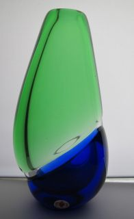 Czech Republic Art Glass Blue Green Vase by Ladislav Palecek