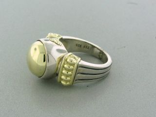Estate Lagos Caviar Sterling Silver 18K Yellow Gold Ring