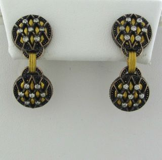 New Gurhan Capitone Collection 24K Yellow Gold Diamond Earrings $3300