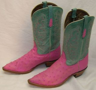 Tony Lama Custom made Antique Pink Full Quill Ostrich 9 5 Western