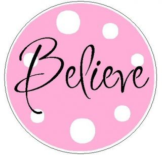 Pink Believe w Polka Dots 1 Round Labels Stickers