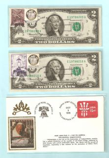 Two Consecutive 1976 $2 Stamped Notes Envelope Pope John Paul