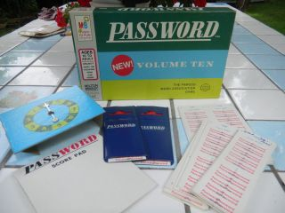 Password Board Game 1962 Edition Milton Bradley 10th Volume