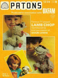 Lamb Chop Puppet Shari Lewis Knitting Pattern Vintage