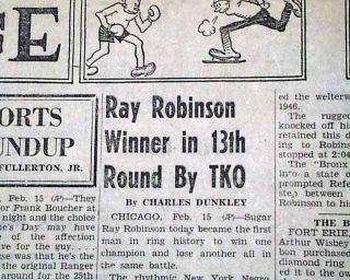 Sugar Ray Robinson Jake LaMotta Boxing 1951 Newspaper 6th of 6 Fights