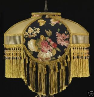 Victorian Lamp Shade Waverly Black Gold Silk Fabric