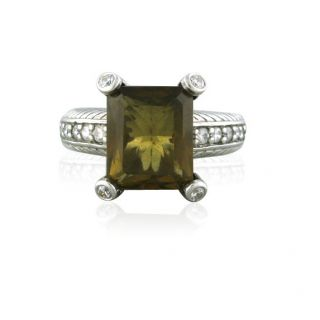 Estate Judith Ripka Sterling Silver Emerald Cut Smokey Quartz Ring