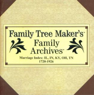 Family Tree Makers Archives Marriage Index 2 PC CD IL in KY Oh TN