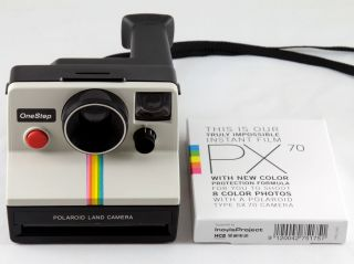 SX 70 White Rainbow Stripe Instant Land Camera w Film Tested