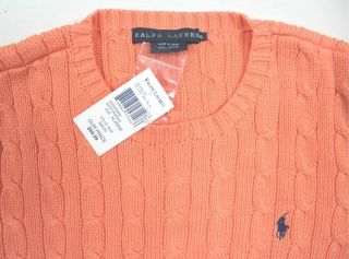 Ralph Lauren Womens Pink Sweater Cable Knit Cotton Pony Size XL