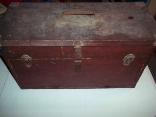 ANTIQUE WOODEN PRIMATIVE MACHINIST TOOLBOX WOODEN CHEST W SLIDING