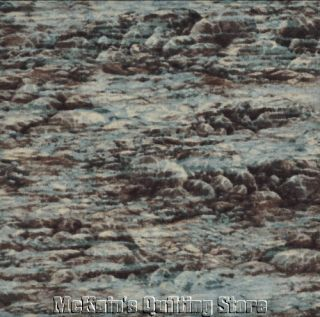 Elusive Catch River Rocks Water Landscape Quilt Fabric SSI Blue Gray