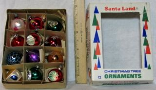 Vintage Box of 12 Hand Painted Glass Christmas Tree Ornaments