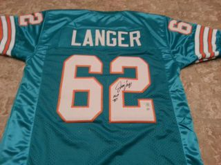 Jim Langer Autographed / Signed Football Jersey Miami Dolphins COA AAA