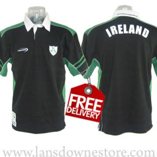 Mens Black Lansdowne Irish Rugby Shirt Free Worldwide Delivery R3052