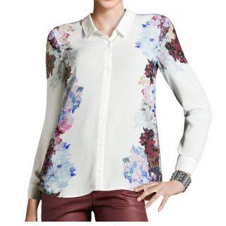 White Vintage Floral Long Sleeve Lapel Blouses 3711
