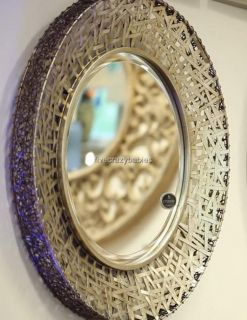 Messed Metal Wall Mirror Modern Extra Large Round Horchow