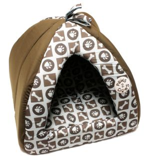 14x14x15 Brown Light Blue Pet Bed House for Extra Small Dog or Cat