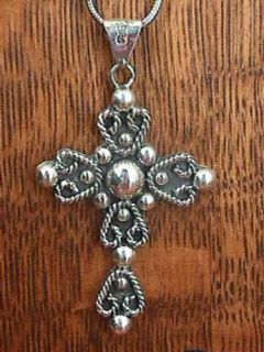 Sterling Silver 925 Large Mexico Cross Pendant Necklace
