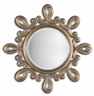Large Round Ornate Champagne Silver Vanity Wall Mirror