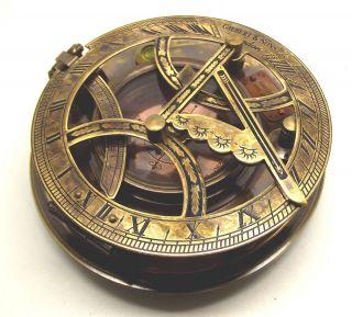 High Grade Large 5 Gilbert London Sundial Compass w Teak Box