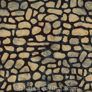 Stones Rocks Batik Landscape Fabric Tan DK Blue FQ