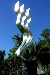 Large Contemporary Silver Fine Metal Art Kinetic Outdoor Sculpture