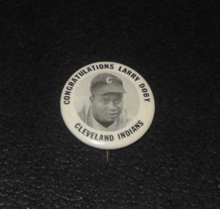 Baseball Player Pin Button Coin Congratulations Larry Doby Indians