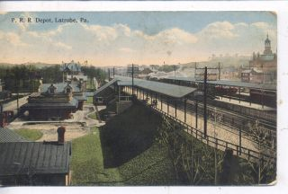 Latrobe PA 1908 Pennsylvania Railroad Depot Train Station Postcard