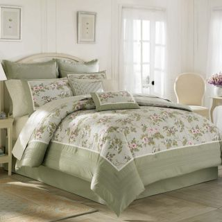 Laura Ashley Avery Lavender Purple Green Floral Queen Comforter 4P Set