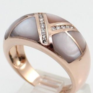 Laura Ramsey Solid 14k Rose Gold MOP Diamond Dome Ring Band Size 7
