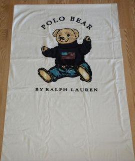 Ralph Lauren Polo Bear Beach Towel White 36x66