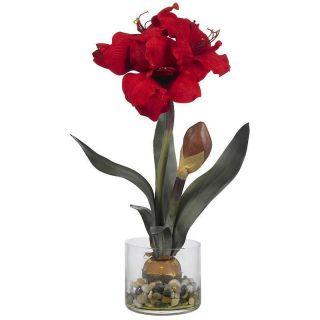 Large 20 Red Amaryllis Artificial Silk Fake Flower Arrangement NN4827