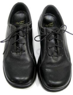 Dansko Womens Black Leather Lace Up Oxford Clogs Shoes Size EU 37 US 6