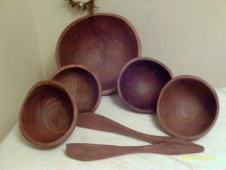 Vintage Teak Wood Salad Bowl Set Large Bowl 4 Serving Bowls Wood Tongs