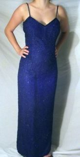 LAURENCE KAZAR sapphire blue beaded womens evening gown size PM Never