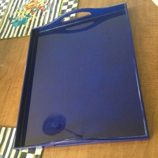 RARE RALPH LAUREN RL HOME COBALT BLUE LARGE SERVING TRAY W HANDLES NLA