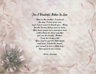 Mother in Law Personalized Poem Gift Print 11 Designs to Choose From