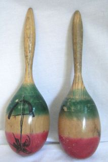 Pair of Vintage Hand Painted Maracas Music Shakers Rattlers Percussion