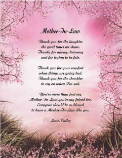 Mother in Law Personalized Poem Gift for Mothers Day 11 Designs